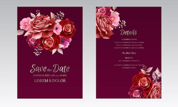 Elegante bruiloft uitnodiging kaartsjabloonontwerp met kastanjebruine roze bloem en bladeren