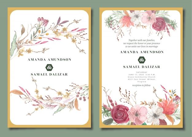Elegante bruiloft uitnodiging met bloemen aquarel