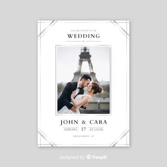 Elegante bruiloft uitnodiging met fotosjabloon