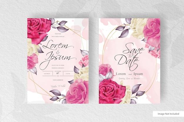 Elegante bruiloft uitnodiging met prachtige aquarel bloem en bladeren arrangement
