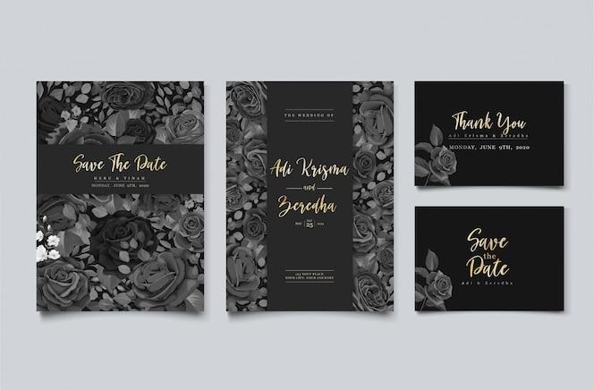 elegante bruiloft uitnodiging ontwerp met bloemmotief