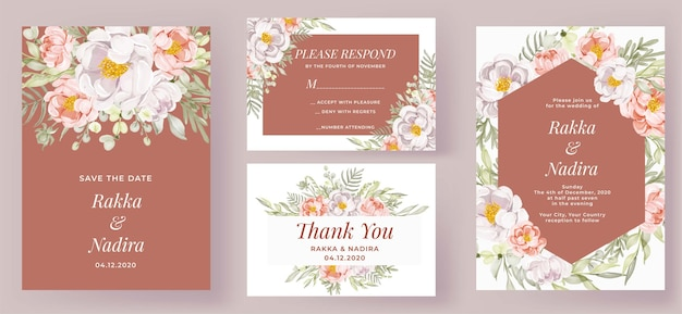 Elegante bruiloft uitnodiging set perzik en witte pioenrozen