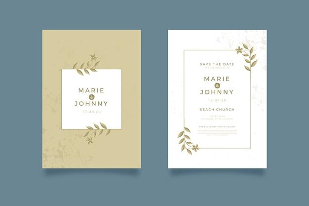 Elegante bruiloft uitnodiging sjabloon collectie