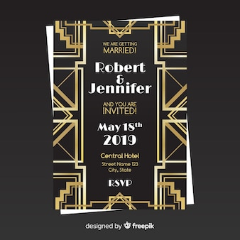 Elegante bruiloft uitnodiging sjabloon in art decostijl met gouden elementen