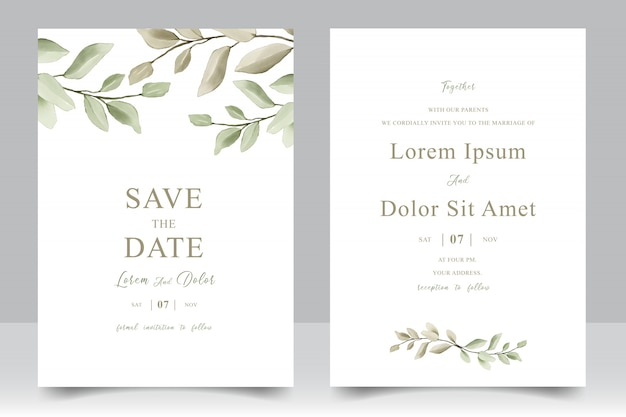 Elegante bruiloft uitnodiging sjabloon kaart met aquarel bladeren