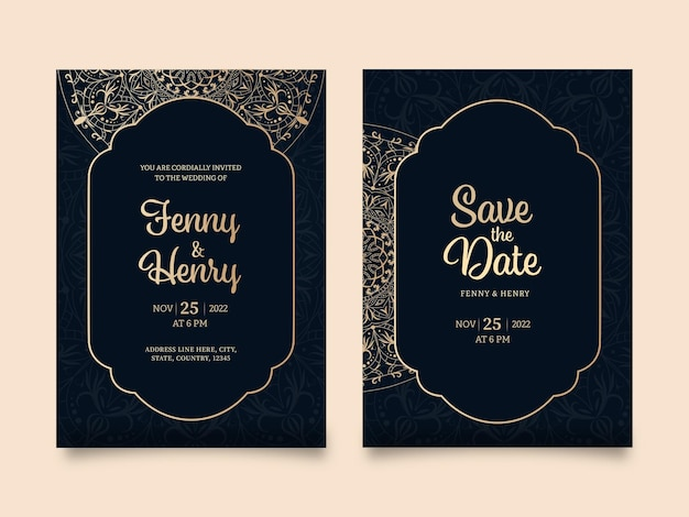 Elegante bruiloft uitnodiging sjabloon lay-out in zwarte en gouden kleur.