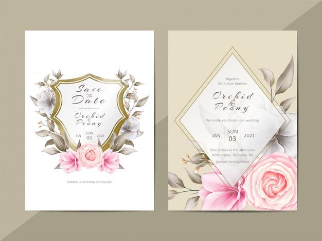 Elegante bruiloft uitnodiging sjabloon met aquarel bloemen en crest
