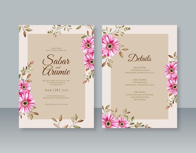 Elegante bruiloft uitnodiging sjabloon met bloemen aquarel schilderij