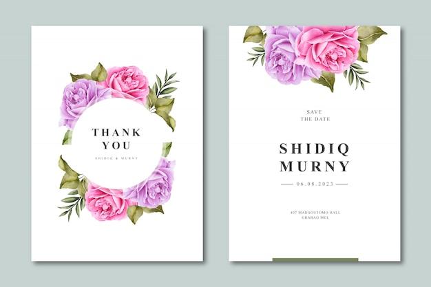 Elegante bruiloft uitnodiging sjabloon met bloemen aquarel