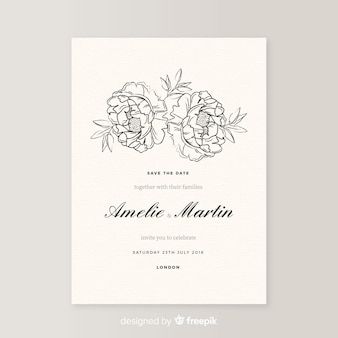 Elegante bruiloft uitnodiging sjabloon met bloemen van de pioenroos