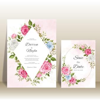 Elegante bruiloft uitnodiging sjabloon met florale decoratie