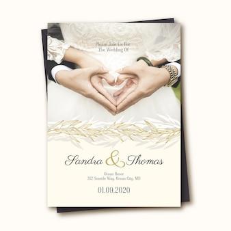 Elegante bruiloft uitnodiging sjabloon met foto