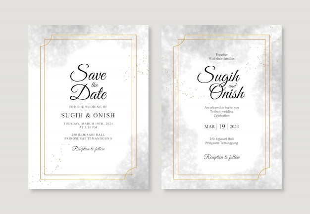 Elegante bruiloft uitnodiging sjabloon met gouden frame en aquarel spons splash