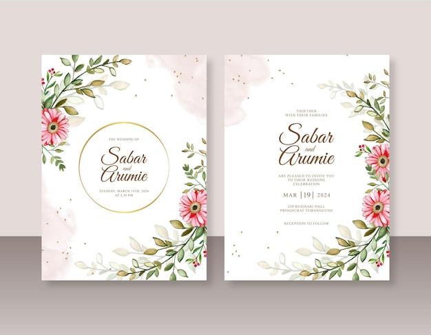 Elegante bruiloft uitnodiging sjabloon met hand schilderij aquarel bloemen