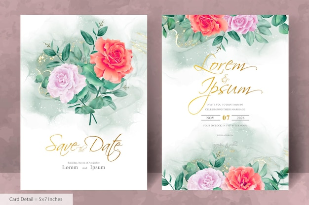 Elegante bruiloft uitnodiging sjabloon met handgetekende bloem en eucalyptus bladeren regeling