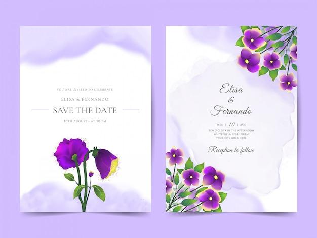 Elegante bruiloft uitnodiging sjabloon met minimalistische paarse bloemen