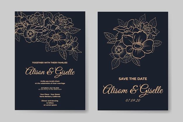Elegante bruiloft uitnodiging sjabloon met omtrek bloem