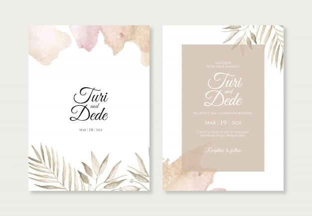 Elegante bruiloft uitnodiging sjabloon met plant aquarel en spatten