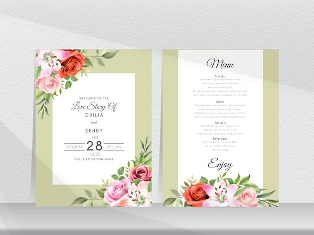 Elegante bruiloft uitnodiging sjabloon met prachtige hand getrokken roos en lelie