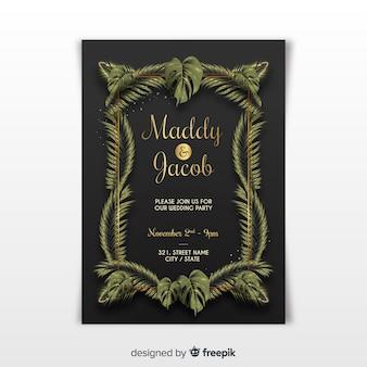 Elegante bruiloft uitnodiging sjabloon met tropische bladeren