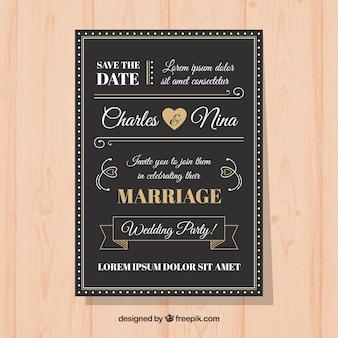 Elegante bruiloft uitnodiging sjabloon met vintage stijl