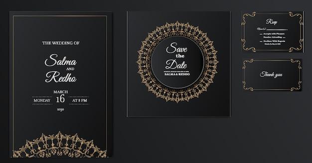 Elegante bruiloft uitnodiging sjabloon ontwerpset