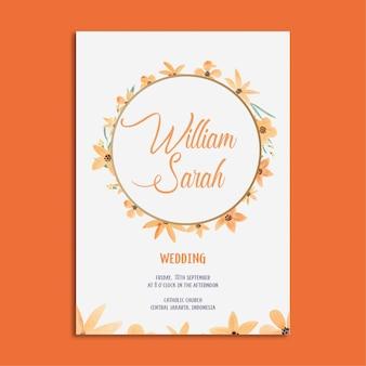 Elegante bruiloft uitnodiging sjabloon set aquarel oranje bloemen