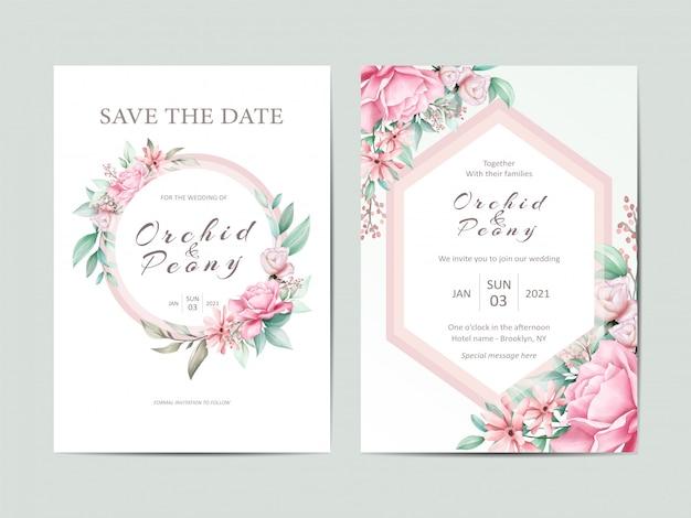 Elegante bruiloft uitnodiging sjabloon set aquarel rozen bloemen