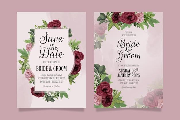 Elegante bruiloft uitnodiging sjabloon set met aquarel stijl.