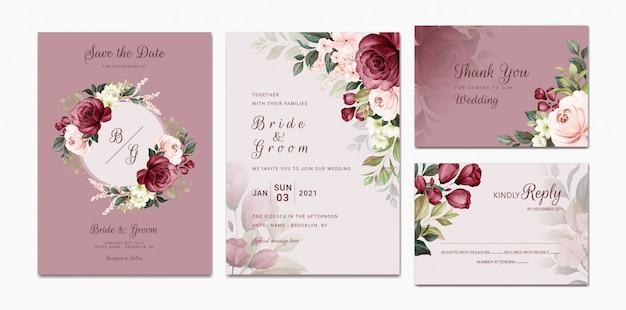 Elegante bruiloft uitnodiging sjabloon set met bordeaux en perzik aquarel bloemen frame en rand decoratie. botanische illustratie voor kaart samenstelling ontwerp
