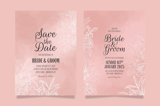 Elegante bruiloft uitnodiging sjabloon set met florale bladeren decoratie