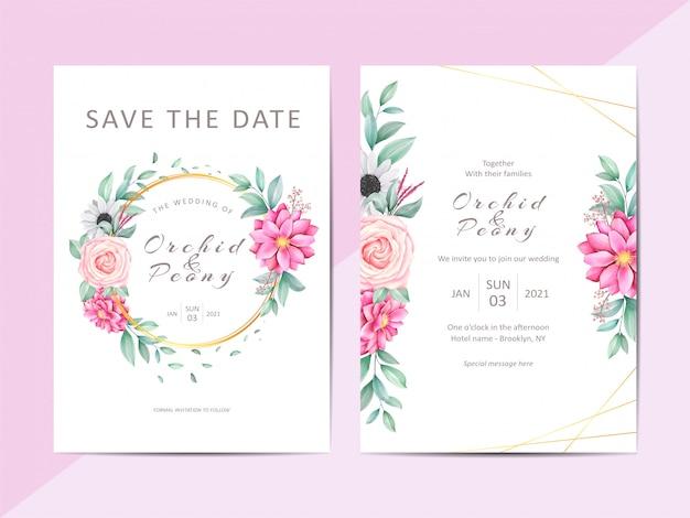 Elegante bruiloft uitnodiging sjabloon set met mooie bloemen frame