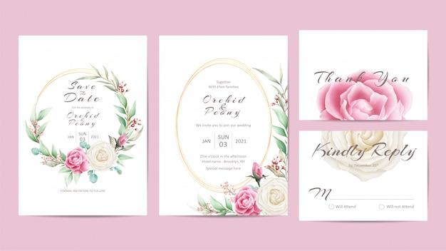 Elegante bruiloft uitnodiging sjabloon set met rozen en bladeren