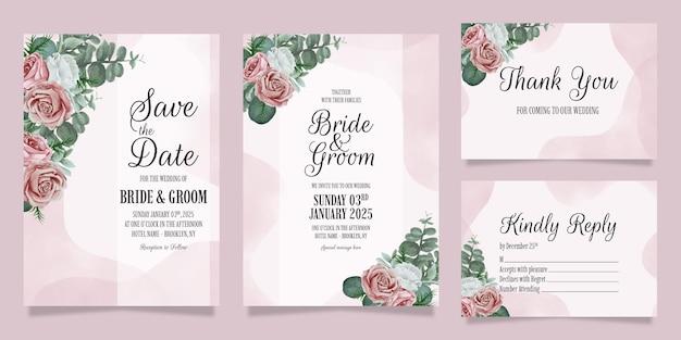 Elegante bruiloft uitnodiging sjabloon set met stoffige aquarel bloemen frame decoratie