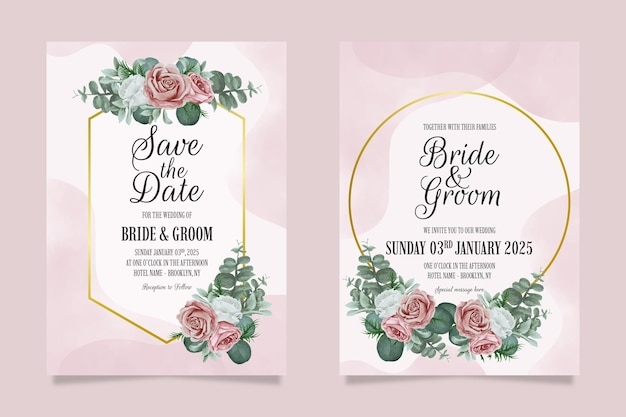 Elegante bruiloft uitnodiging sjabloon set met stoffige aquarel bloemen frame