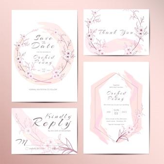 Elegante bruiloft uitnodiging sjabloon set van geschetste bloemen en aquarel achtergrond