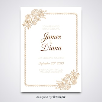 Elegante bruiloft uitnodiging sjabloon