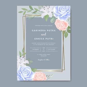 Elegante bruiloft uitnodigingen kaartsjabloon met kleurrijke bloemen en bladeren