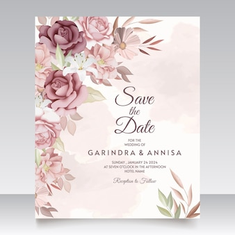 Elegante bruiloft uitnodigingskaart met bruine bloemen en bladeren