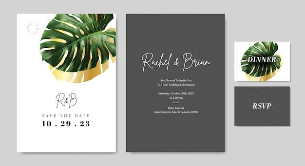 Elegante bruiloft uitnodigingskaart met groene blad vector sjabloon