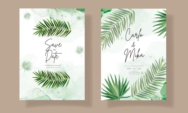 Elegante bruiloft uitnodigingskaart met groene tropische bladeren aquarel