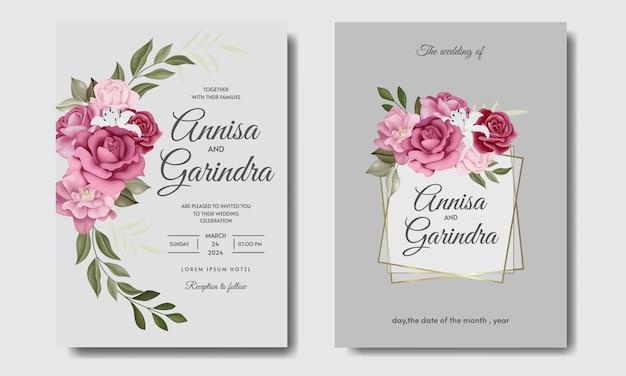 Elegante bruiloft uitnodigingskaart met mooie bloemen en bladeren sjabloon