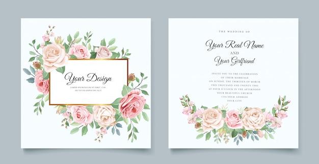 Elegante bruiloft uitnodigingskaart met mooie bloemen
