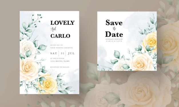 Elegante bruiloft uitnodigingskaart met prachtige aquarel bloemen