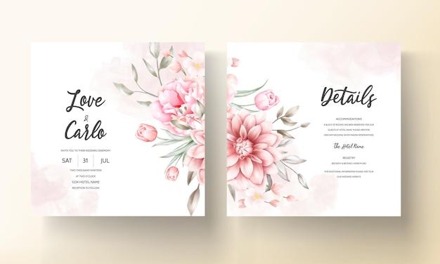 Elegante bruiloft uitnodigingskaart met prachtige bloemen versieringen