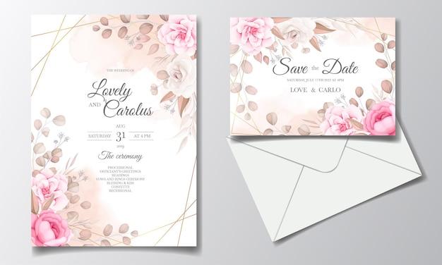 Elegante bruiloft uitnodigingskaart met prachtige bloemen