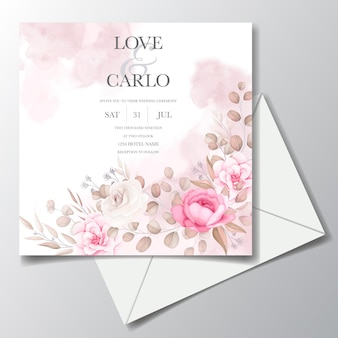 Elegante bruiloft uitnodigingskaart met prachtige bloemen Premium Vector