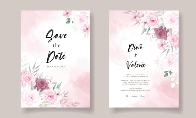Elegante bruiloft uitnodigingskaart met prachtige bloemendecoraties