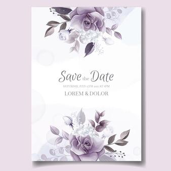 Elegante bruiloft uitnodigingskaart met prachtige paarse en witte bloemen