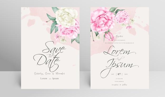 Elegante bruiloft uitnodigingskaart set met bloemen en aquarel splash